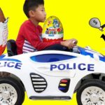 Escort cars toys & Giant Surprise Eggs Police baby Chase RUN OVER Doll for kids
